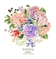 floral greeting card with blooming hydrangea and vector image vector image