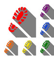footprint boot sign set of red orange yellow vector image vector image