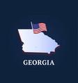 georgia state isometric map and usa natioanl flag vector image vector image