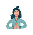 girl in a namaste pose flat vector image