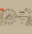 hand drawn astrology and zodiac template vector image