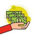 hand holds banknotes money cash vector image