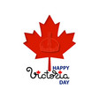 happy victoria day card with crown maple leaves vector image