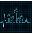 Heartbeat make helping and victory hand vector image vector image