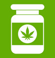 jar of powder marijuana icon green vector image vector image