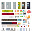 kitchen interior elements collection vector image vector image