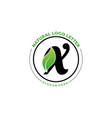 letter x with leaf logo green leaf logo icon vector image vector image