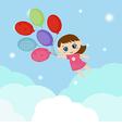 Little girl flying balloons vector image vector image