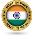 made in india gold label vector image vector image
