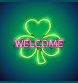 neon welcome in clover sign vector image vector image