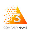 number three symbol on colorful triangle vector image vector image