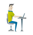 office work and remote work freelance young man vector image vector image