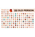 old people avatar set multi racial face vector image