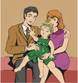 Photo Portrait of family Father mother and vector image vector image
