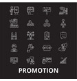 promotion editable line icons set on black vector image vector image