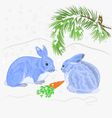 Rabbits and snow Christmas motive vector image