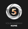 realistic golden number five logo in the circle vector image vector image