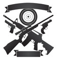 rifles and pistols with target plus banners vector image vector image
