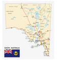 road map state south australia with flag vector image