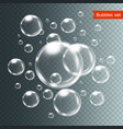 set bubbles under water isolated vector image