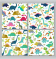 set cute dinosaur seamless patterns vector image vector image
