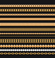 set gold chains beads pearls and ropes on black vector image vector image
