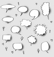 set hand drawn speech bubbles with halftone vector image