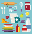 set icons and in flat design style kitchen vector image vector image
