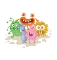 Set of Cartoon Monsters Funny Smiling Germs vector image vector image