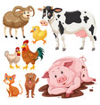Set of farm animals
