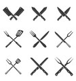set of restaurant knives icons silhouette vector image