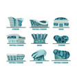 set soccer or football modern stadium building vector image vector image