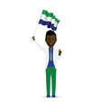 sierra leone flag waving man vector image vector image
