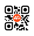 smartphone readable qr code with 4g icon vector image vector image