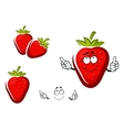 Sweet strawberry fruit with leafy cap vector image vector image