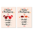 thanksgiving cards with cute squirrels and vector image
