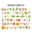 vegetable element set coloring collection hand vector image