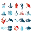 water flat icons vector image vector image