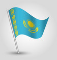 waving simple triangle kazakhstani flag kazakhstan vector image vector image