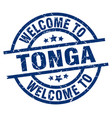 welcome to tonga blue stamp vector image