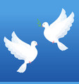 white doves with olive twig on a blue background vector image vector image