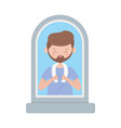 young man with in window isolated icon white vector image vector image