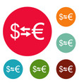 currency exchange icons circle set vector image