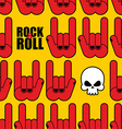 Rock and roll seamless pattern Background of Skull vector image