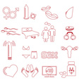 sex theme simple outline red icons set eps10 vector image
