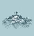 jesus on cross mount golgotha art sketch vector image