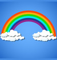 abstract colorful rainbow with clouds vector image vector image