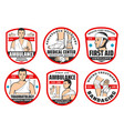 ambulance traumatology first aid medical icons vector image