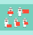 arab businessmen holding red blank sign in vector image vector image