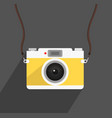 camera yellow strap with long shadow vector image vector image